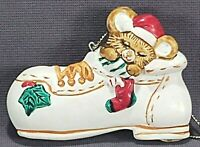 Russ Berrie Ceramic Mouse in a Tennis Shoe Christmas Holiday Tree Ornament