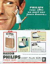 PUBLICITE ADVERTISING 036  1965   Philips rasoirs éléctriques