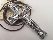 Silver Plated Saint St Benedict Pendant Cross Medal/ Cruz De San Benito