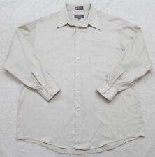 Crazy Horse Dress Shirt 16.5 32/33 Solid Long Sleeve Mens Beige Cotton Poly Man