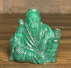 """Antique Chinese Carved Malachite Statue / Figure Of Lu Tung Pin Late Qing 2.7"""""""