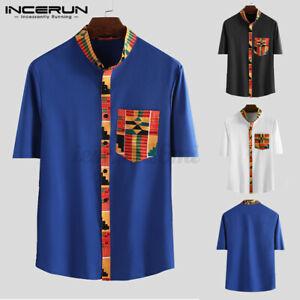 INCERUN Men's African Print Short Sleeve Dashiki Shirt Tops Party Shirt Blouse