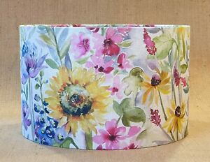 Voyage SUNFLOWER linen yellow floral country drum lampshade 15 20 25 30 35 40cm