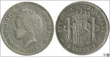 España 5 pesetas 1893  PGV Ag RC / VG Alfonso XIII 00149