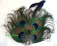 New Peacock Diamante Feather Hair Clip Fascinator Handmade in UK 'Ysanne'