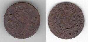 POLAND POLISH LITHUANIAN COMMONWEALTH COPPER 1 GROSZ COIN 1768 YEAR KM#177