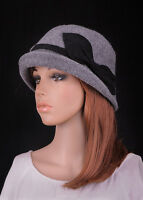 M411 Gray Cute Bow Roll Brim Women's Wool Acrylic Winter Cloche Hat Bucket Cap