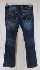 Miss Me Rhinestone Stud Black Faux Leather Design Bootcut Jeans 26 EUC