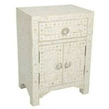 Handmade Bone Inlay Floral White Bedside Table Nightstand One Drawer Two Door