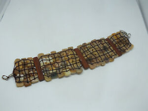 "Beautiful Clasp Bracelet Silver Wood Tone Pearl Finish Flat Beads 7"" Long UNIQUE"