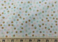 Confetti Polka Dot White Mint Blush Gold Dots Cotton Quilting Fabric a5/22