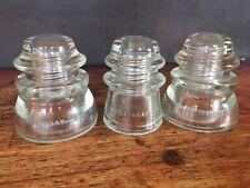 Lot of 3 Vintage Hemingray No 45 + No 17 Telephone Pole Clear Glass Insulators