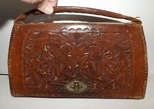 Vintage Mexico Purse Bag Hand Tooled Brown Leather Floral Design Handmade