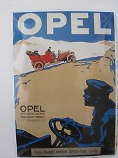 Metal Postcard by Geetin of Switzerland. Advert for |Opel Cars