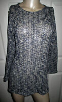 NY & Co. Sweater Open Knit Women's Small Blue & White Blend 3/4 Sleeve