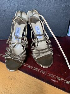 Jimmy Choo Size 37 Gold Strappy Sandels In Good Condition