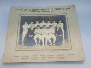 VINTAGE CRICKET FOTOGRAF  B&W ARNCLIFFE CORINTHIAN CRICKET CLUB PREMIERS 1928-29