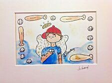 "NEW Angel Baseball Boy By Jo Lackey, Signed ART In Custom Acid Free Mat 16""x20"""