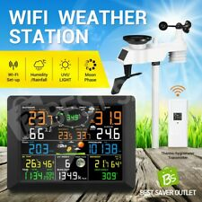 Wireless WiFi Weather Station Solar Powered Temperature Forecast Remote Control