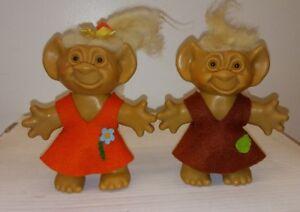 "VTG 1960's Uneeda Troll Doll Lot Wishnik 6"" White Hair Amber Eyes Felt Clothes"
