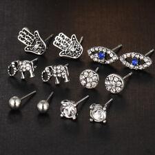 6 Pairs/set Punk Ear Studs Set Crystal Elephant Fatima Hand Eye Earrings Jewelry