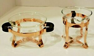 "Bodum Chambord Glass Sugar 2.5"" and Creamer 3.75"" Set ~ New ~ Copper NWOB"