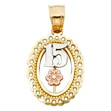 Tri Colored 14k Solid Gold Quinceanera Flower 15 Anos Oval Shape 18mm Pendant