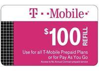 T-Mobile $100 Prepaid Refill Card (Direct) FAST REFILLS!! SALE!!