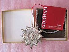2006 Gorham Sterling Silver Christmas Ornament Annual Snowflake Box Pouch Paper