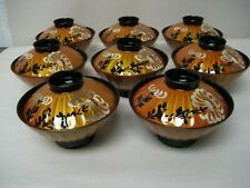 Vintage Japanese lacquerware lacquer rice/miso bowls with painted lids- set of 8