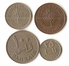 Four Bahrain coins, 10, 20, 50, and 100 fils, 1385 (1965), palm trees