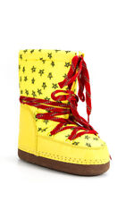 Bobo Choses  Childrens Girls Lace Up Winter Boots Yellow Star Print Size 30