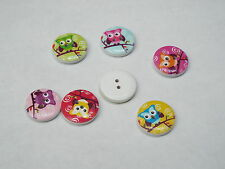 8pc 20mm Painted Owl Wooden Cardigan Trouser Shirt Kid Baby Button 0288
