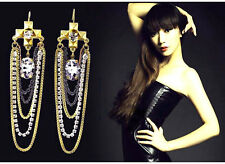 New Design Punk Multilayer Tassels Chain Crystal Drop Dangle Cross Stud Earring
