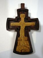 UNIQUE Neck Cross Red Wooden Hand Carved Crucifix with *JESUS CHRIST* #13a