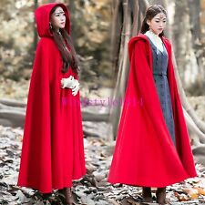 Casual Ladies Long Trench Coat Poncho Hooded Cloak Cape Overcoat Red Parka Retro