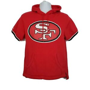 San Francisco 49ers Short Sleeve Hoodie Size S Mitchell Ness Red
