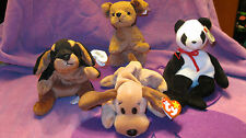 DOBY, TUFFY, FORTUNE, AND BONES BEANIE BABIES