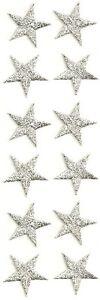 "( One Dozen - 12 ) Stars - Silver Metallic Embroidered Iron On Patches - 7/8"""
