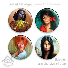"Tretchikoff SHABNER J H Lynch Kitsch Retro Prints - 1"" Badge X4 Badges"