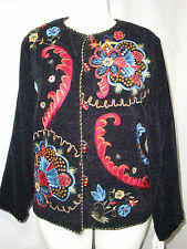 Julia Kev Solid Black Velvety Fully-Lined Rayon Jacket w/Embroidery Rosemaling M