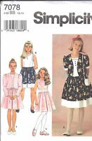 UNCUT Vintage Simplicity Sewing Pattern Little Girl Dress Jacket 7078 OOP NEW FF