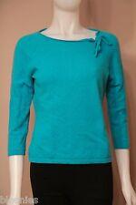 Ann Taylor 100% Cashmere Blue Boat Neck Bow Sweater Medium M