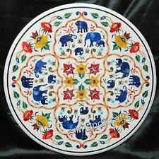 36 Inches Marble Dinning Table Top Inlay Kitchen Table with Blue Elephant Design