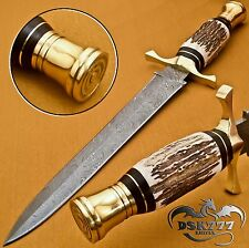 Beautiful Custom Hand Made Damascus Steel Hunting Dagger Knife Handle Stag Horn
