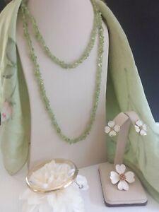 Vintage Pale Green & Goldtone Jewelry Lot - Trifari Dogwood Pin & Earrings