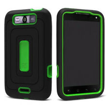 For LG Connect 4G Rubberized IMPACT Duo Shield Hard Case Phone Cover Black Green