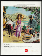 1957 Vintage Print Ad 50's COCA COLA coke acapulco beach illustration art