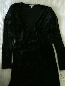 Bar III $80 Womens Black Crushed Velvet Tie-Front Wrap Dress Medium $79 NEW