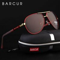 BARCUR Aluminum Magnesium Men's Sunglasses Men Polarized Coating Mirror Glasses